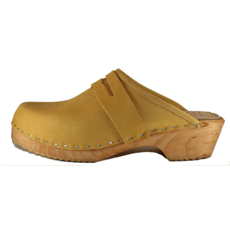 Penny Loafer Clogs in Honey Nubuck on a Traditional Heel