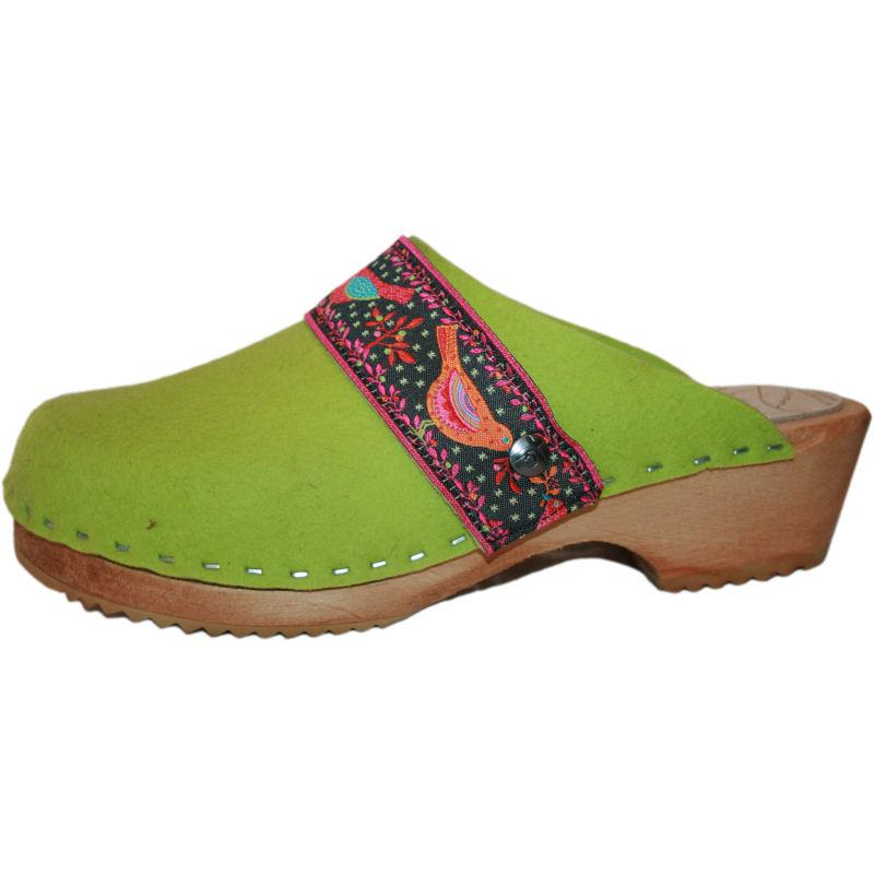 Traditional Heel Tessa Clog in Lime Green Felt with Birds Ribbon Strap