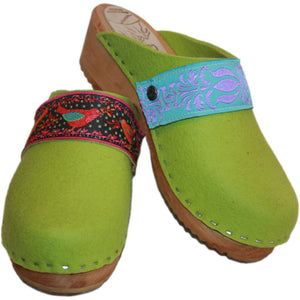 Traditional Heel Tessa Clog in Lime Green Felt Pair