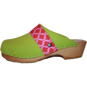 Traditional Heel Tessa Clog in Lime Green Felt Wool with Pink Red Ribbon Strap