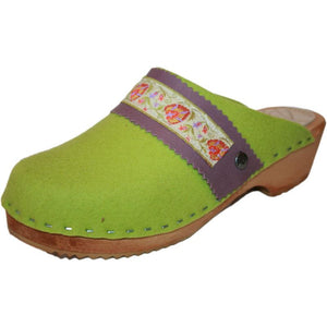 Traditional Heel Tessa Clog in Lime Green Felt Wool with Orange Floral Ribbon Strap