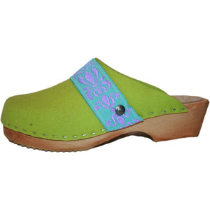 Traditional Heel Tessa Clog in Lime Green Felt Wool with Turquoise/Purple Ribbon Strap