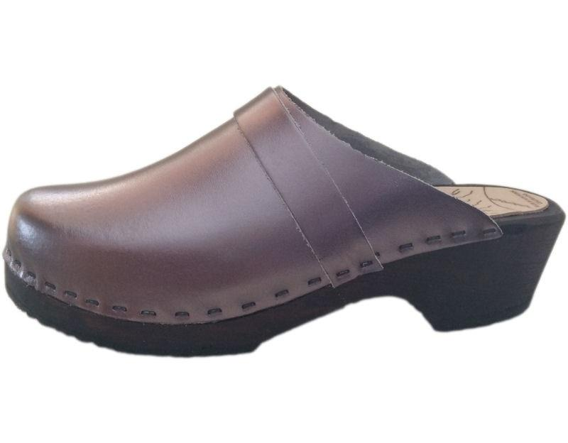 Traditional Heel Pewter Clogs