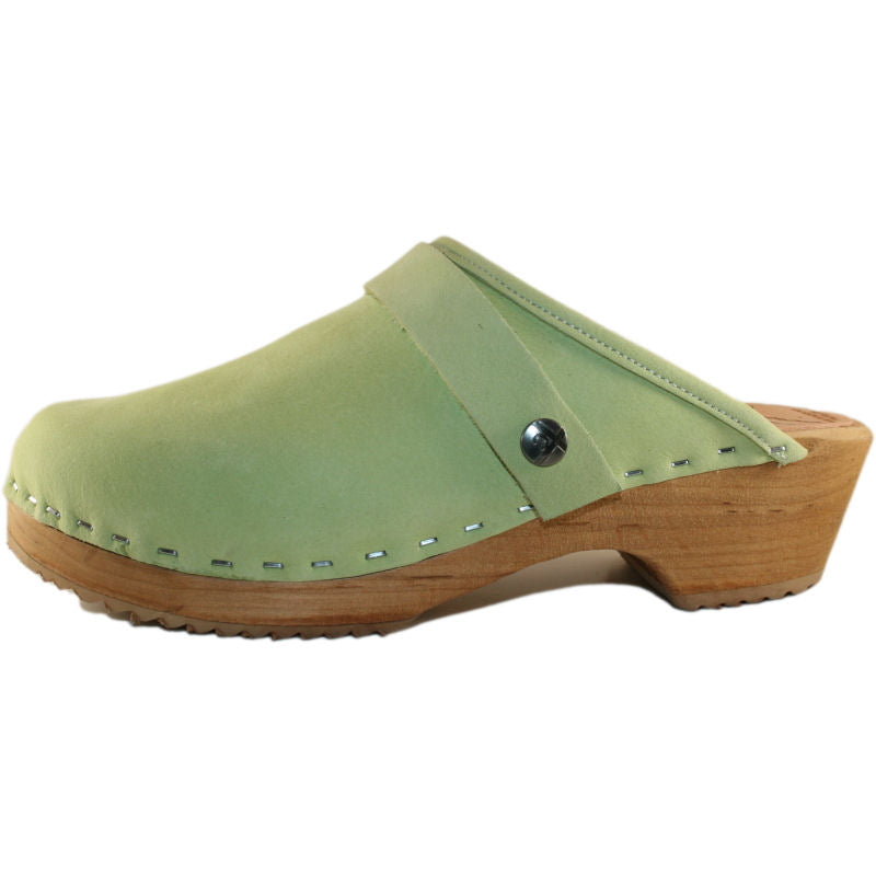 Tessa Traditional Heel Lime Green Nubuck Clog