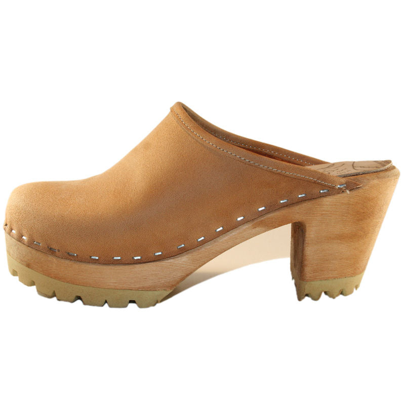 Plain High Heel Tan Mountain Clogs