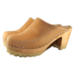 High Heel Mountain Sole in Tan Oil anned Leather
