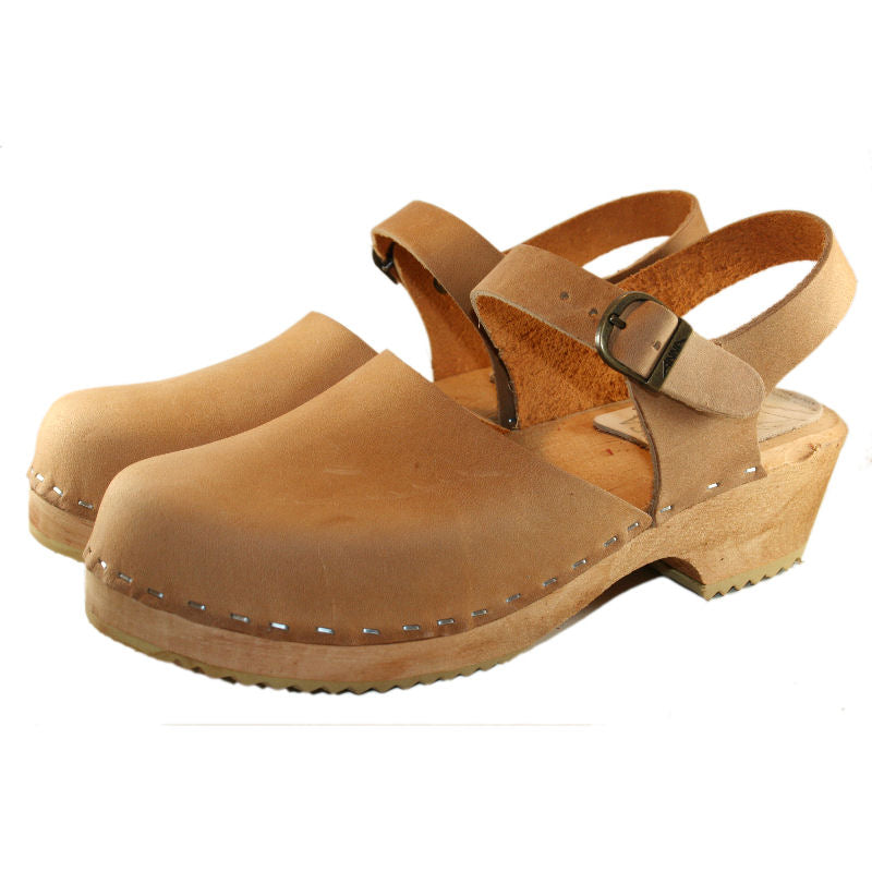 Tan Oiled Tanned Leather Moa Sandal traditional heel