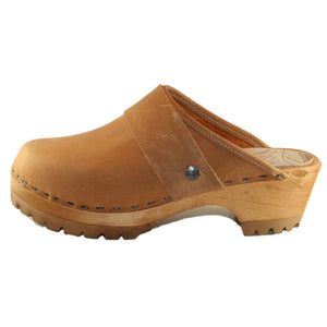 Tan Leather Mountain Clogs with wide Snap Strap