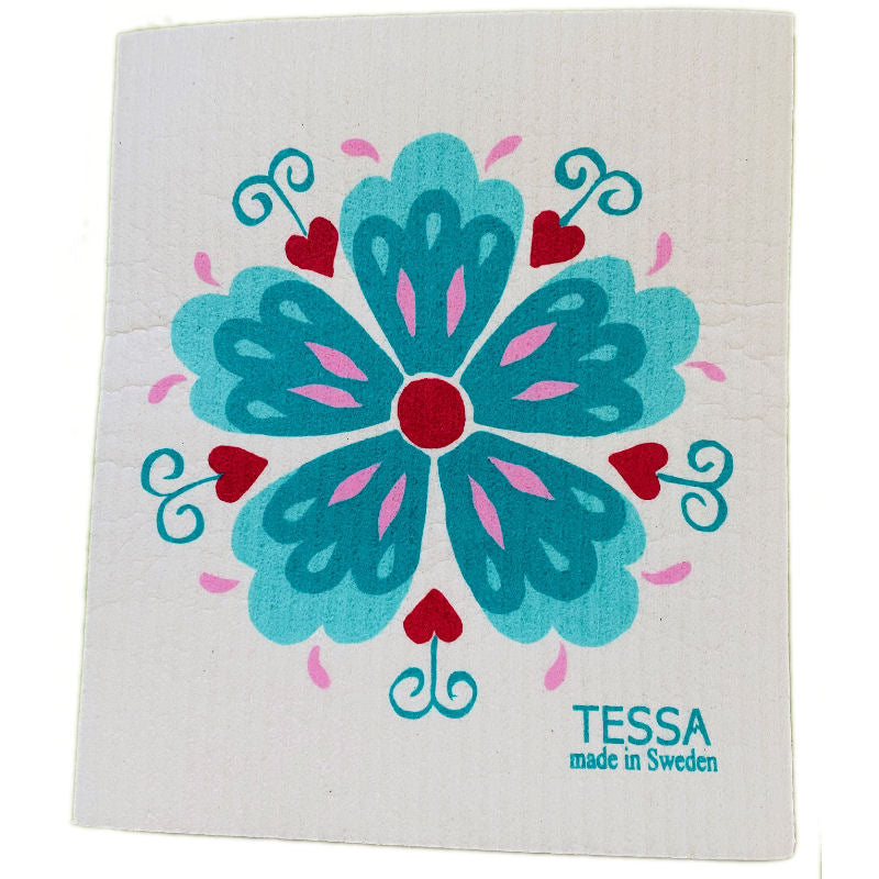 Tessa Teal Rosemaling Dish Cloth