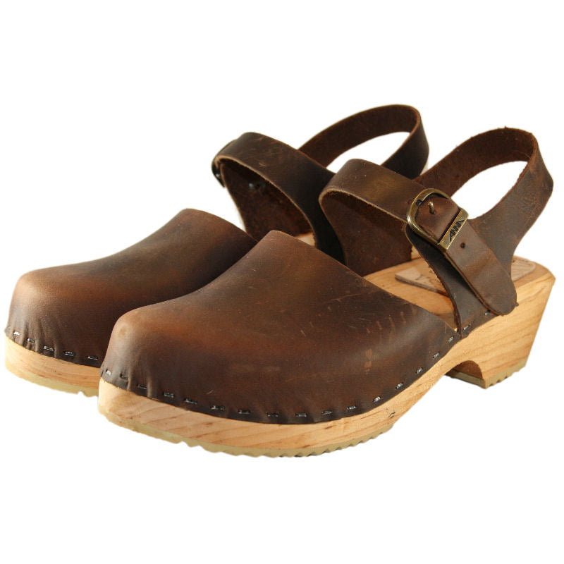 Chocolate Oil Tanned Leather Traditional Heel Moa Sandal