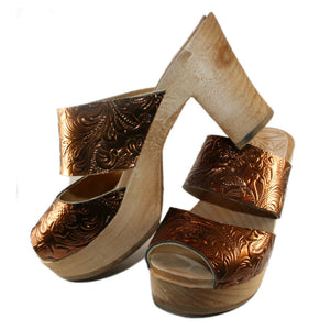 Tessa Ultimate High Sandal Clog in an Embossed Bronze Leather