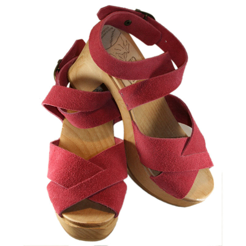 Berry Suede Heather Criss Cross Ultamate High Sandal