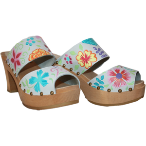 Ultimate High Two Strap Sandal in Ice Gray Hand painted with our Blossom Design