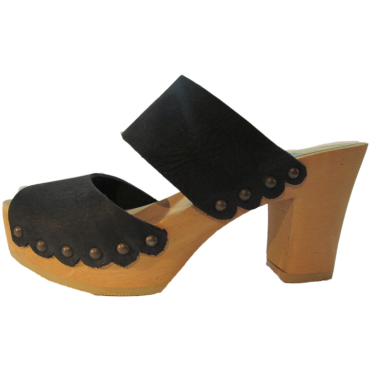 Ultimate High Black Distressed Nubuck Two Strap Sandal with Scalloped Edge