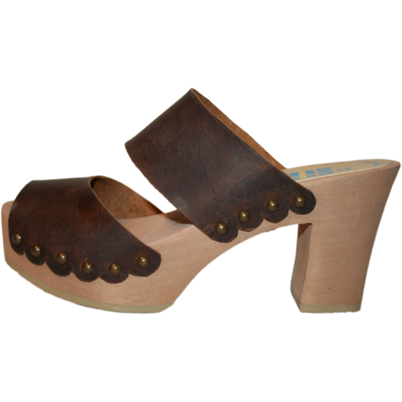 Ultimate High Brown Two Strap Sandal with Scalloped Edge