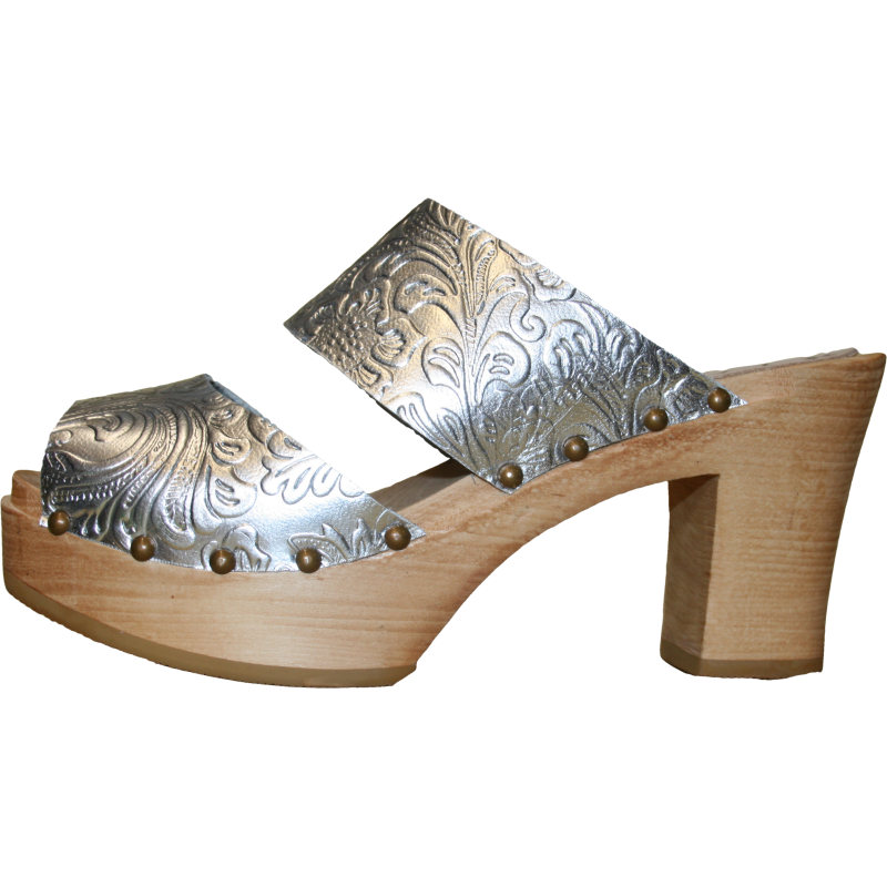 Ultimate High Two Strap Sandal in Silver Embossed Leather