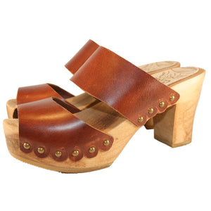 Ultimate High Chestnut Brown 2 Strap Tessa Clog Sandal