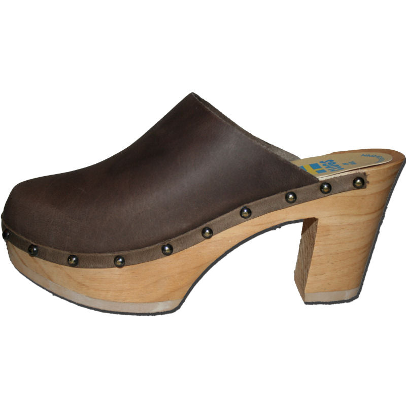Ultimate High Wood Clogs in Brown oil Tanned Leather