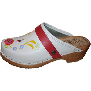 Traditional Heel White Hand Painted Clogs
