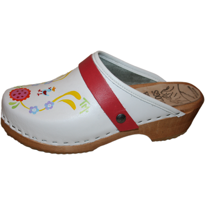 White Klara Hand Painted Traditional Heel Clogs