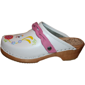 Hand painted clogs with Braided Hot Pink Strap