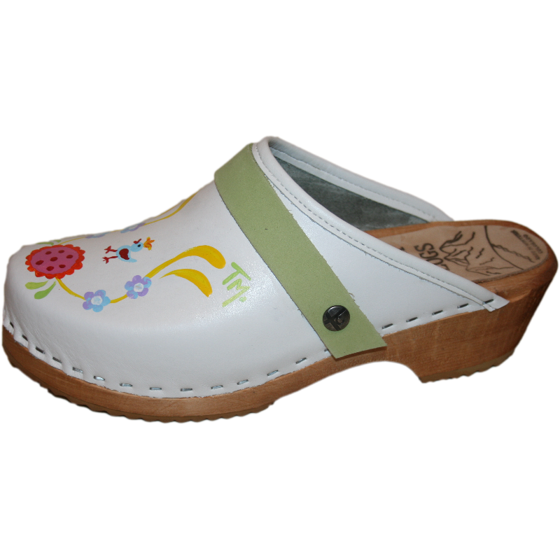 White traditional heel hand painted clogs