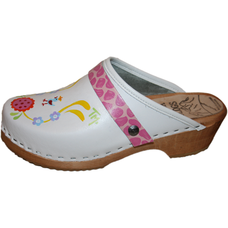 Hand Painted White Klara Tessa Clogs