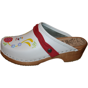 Handpainted Clogs with red braided straps
