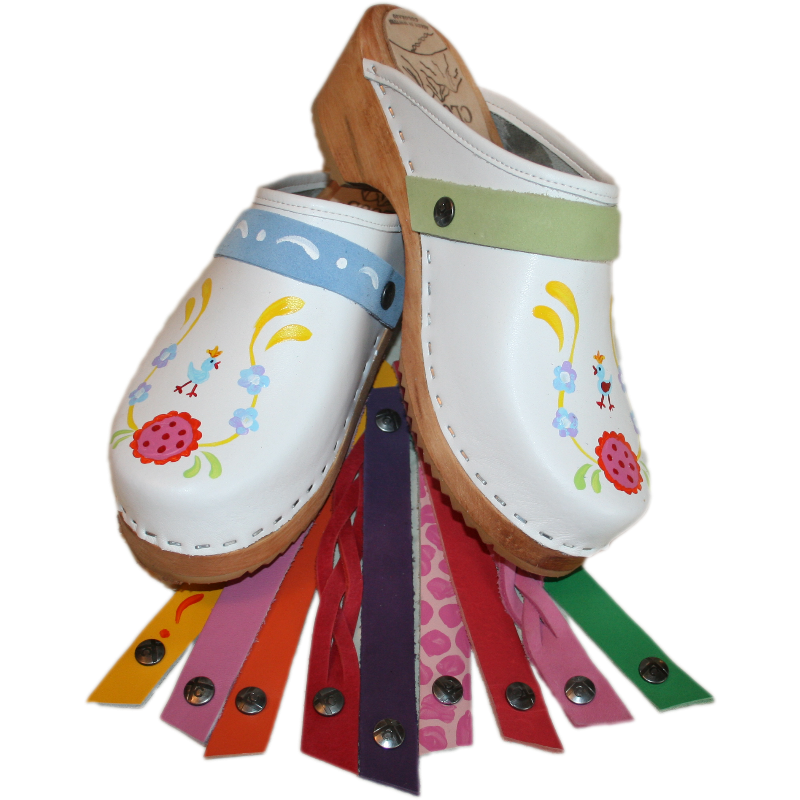 Hand Painted White Klara Snap Strap Clogs