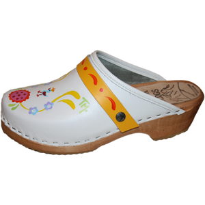 Hand painted White Klara with Yellow Strap