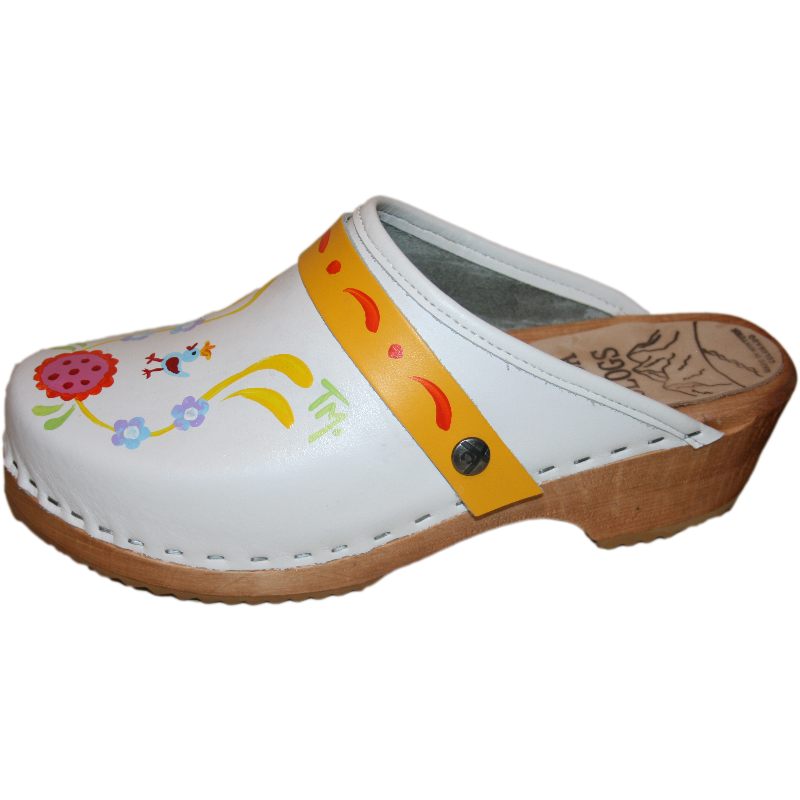 White Klara with Yellow Strap with Orange Scroll