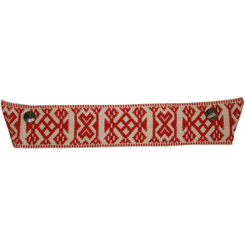 Red and White Wide Scandinavian Ribbon Snap Strap