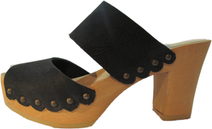 Ultimate High Two Strap Sandal in Black Distressed Nubuck with Scalloped Edge