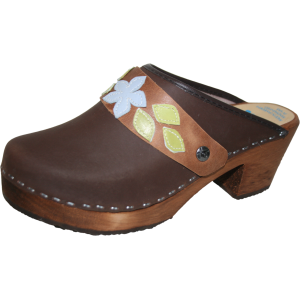 Tessa Clogs in High Heel Brown Oil with Sewn Snap Straps