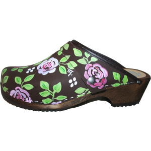 Traditional Heel Brown Oil Brocade Rose