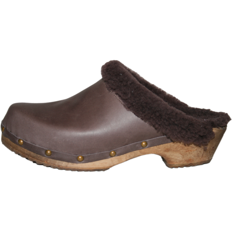 Tessa Traditional Heel Brown Oil Shearling Lined Clog