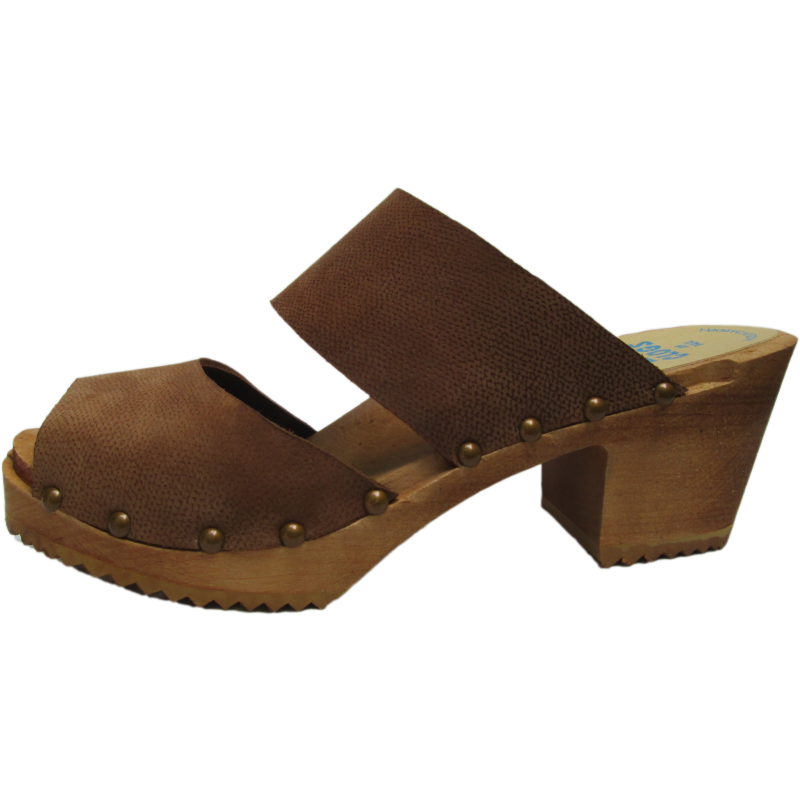 High Heel Two Strap Sandal in Textured Brown Nubuck 40% off