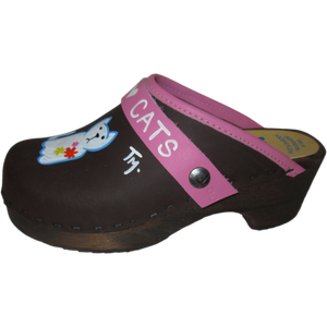Children's hand painted Tessa Clogs in a cat design
