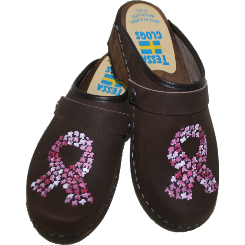 Traditional Heel Brown Oil Pink Ribbon