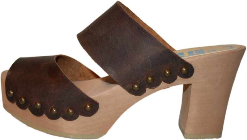 Ultimate High Two Strap Sandal in Brown Leather