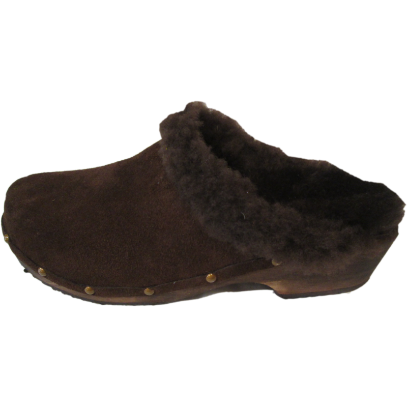 Traditional Heel Brown Suede Shearling lined clogs with Decorative Nails