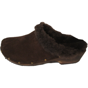 Brown Suede Shearling Lined Mountain Clogs finished with Decorative Nails