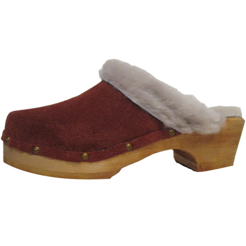 Traditional Heel Rust Suede Beige Shearling lined clogs with Decorative Nails