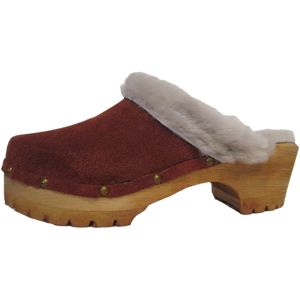 Rust Suede Shearling Lined Mountain Clogs with Decorative Nails