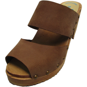 High Heel Two Strap Sandal in Textured Brown Nubuck - Sale 30% off
