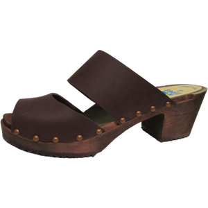 Brown Oil Tanned High Heel Two Strap Sandal