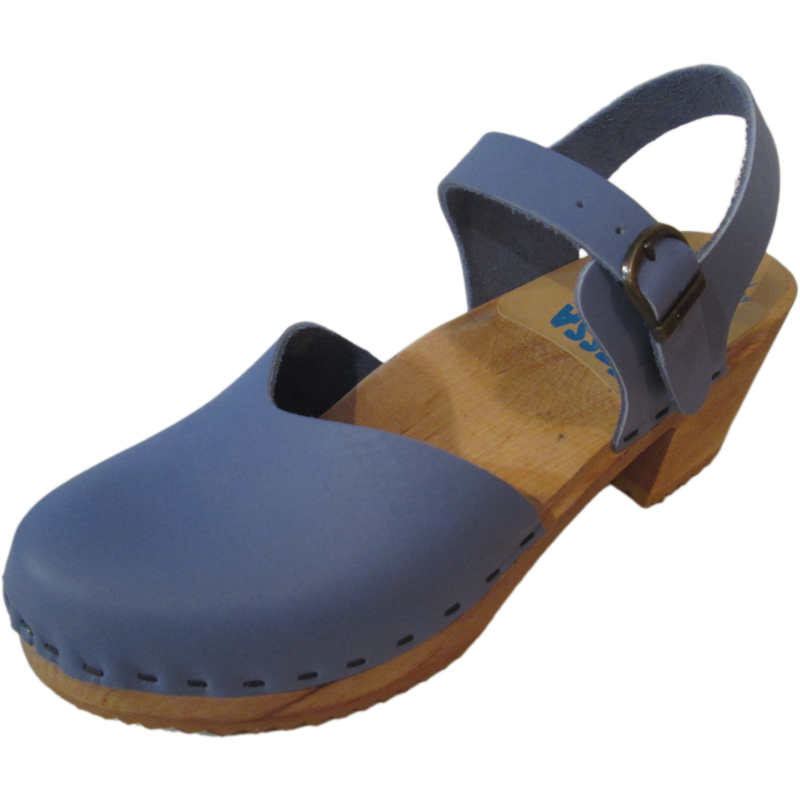 High Heel Moa Sandal in Dusty Blue Leather