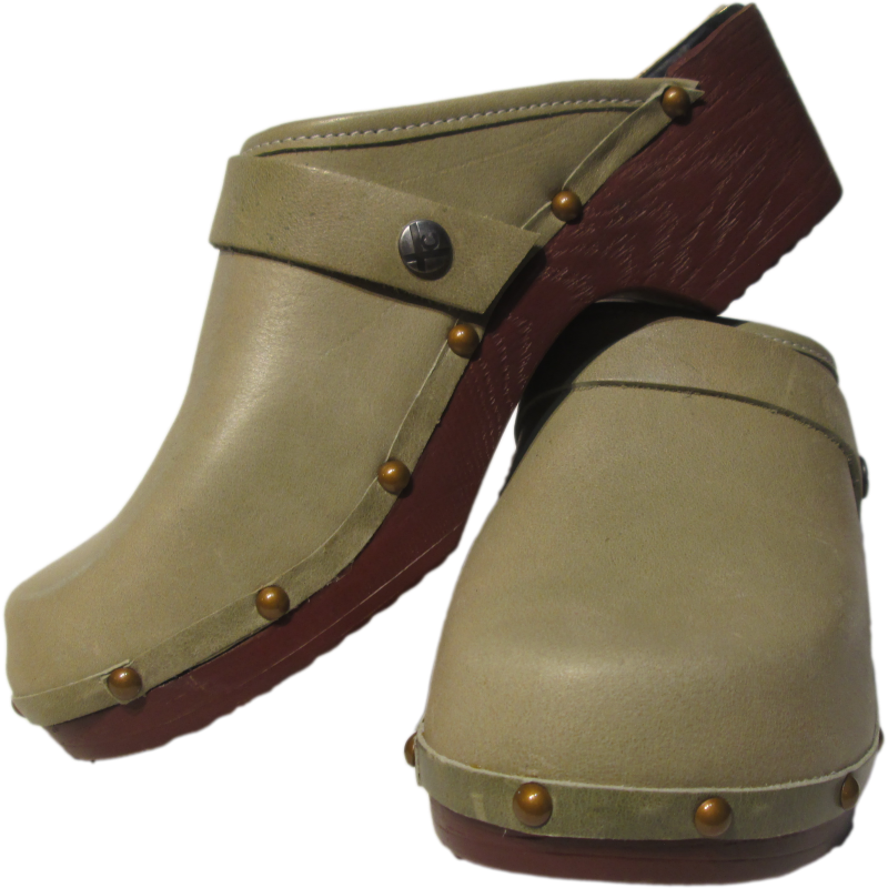 FLEX Tessa Clog in Sage Green, Brown Soles with Decorative Nails