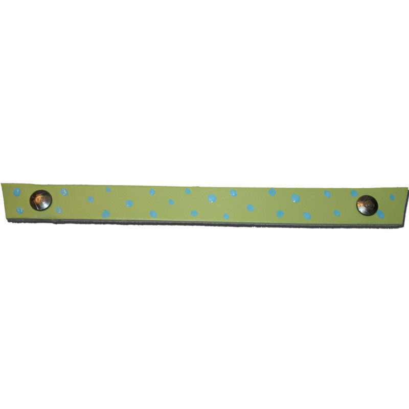 Lime Green Tessa Snap straps with hand painted dots