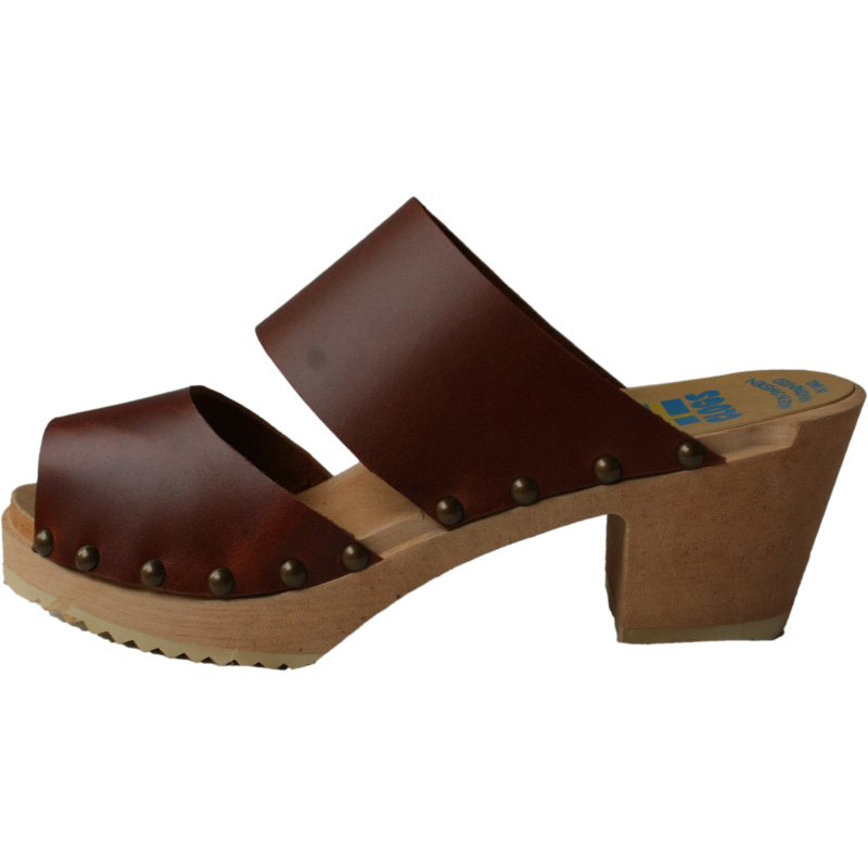 Brown Vegetable Tanned Leather Two Strap Sandals
